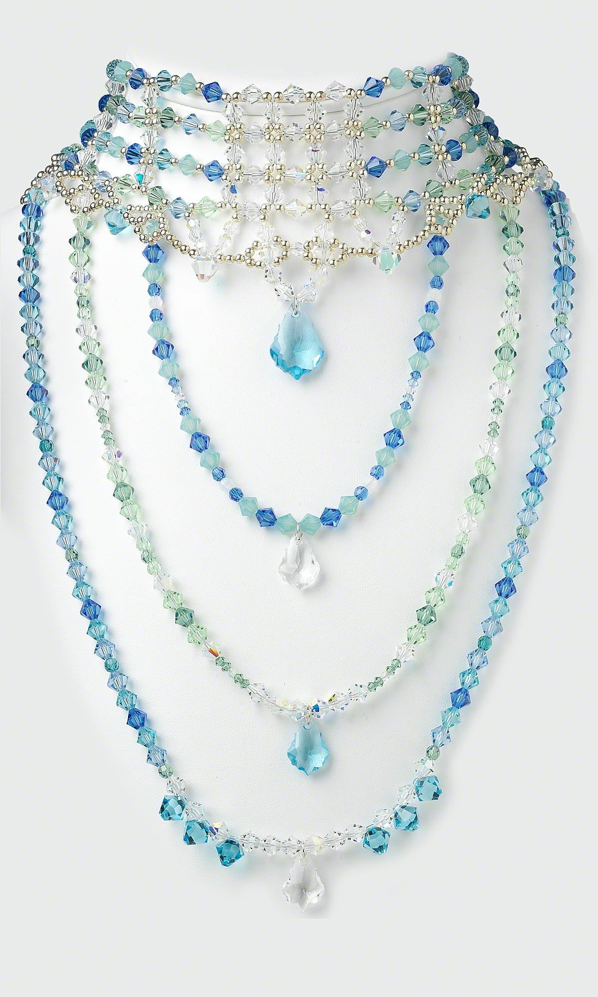 jewelry design multi strand necklace with swarovski crystal beads