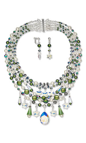 Jewelry Design - Multi-Strand Necklace and Earring Set with Swarovski® Crystals, Silver-Plated Brass Beadsand Beads
