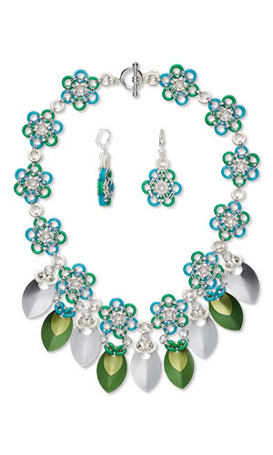 Free Jewelry Design Projects - Bib-Style Necklace and Earring Set with Anodized Aluminum Components and Chainmailleand Beads