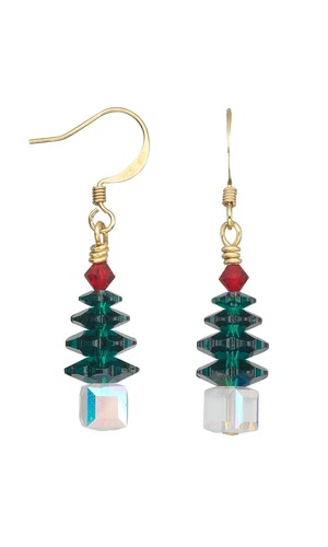 Jewelry Design Project Pattern Christmas Tree Earrings with Swarovski Crystal Beadsand Beads