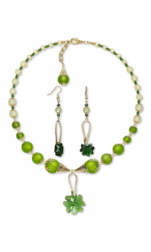 Jewelry Design - Single-Strand Necklace and Earring Set with Swarovski® Crystals, Cool Frost Resin Beads™ and Gold-Plated Brass Conesand Beads