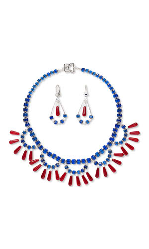 Jewelry Design - Bib-Style Necklace and Earring Set with Czech Glass Beadsand Beads