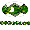 Bead, Celestial Crystal®, glass, 16-facet, emerald green, 6mm faceted bicone. Sold per 16-inch strand.