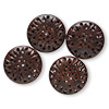Bead, Indian rosewood (natural), brown, 33x11mm carved puffed flat round with holes. Sold per pkg of 4.