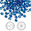 Bead, Swarovski crystal, Capri blue AB, 4mm faceted round (5000). Sold per pkg of 720 (5 gross).