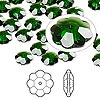 Bead, Swarovski crystal, Crystal Passions®, dark moss green, 8x3mm faceted marguerite lochrose flower (3700). Sold per pkg of 12.