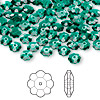 Bead, Swarovski crystal, Crystal Passions®, emerald, 6x2mm faceted marguerite lochrose flower (3700). Sold per pkg of 12.