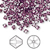 Bead, Swarovski crystal, amethyst, 4mm Xilion bicone (5328). Sold per pkg of 48.