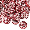 Bead, acrylic, red and silver, 18mm double-sided flat round with flower design, 2mm hole. Sold per pkg of 50.