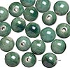 Bead, glazed porcelain, green, 15mm round with 2.75mm hole. Sold per pkg of 20. Minimum 6 per order.