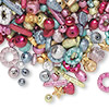 Bead mix, acrylic, mixed colors, mixed stardust shape. Sold per 100-gram pkg, approximately 300-400 beads.