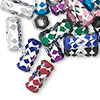 Bead mix, aluminum, mixed colors, 14x6mm diamond-cut 6-sided cylinder with 3.5mm hole. Sold per pkg of 20.