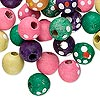 Bead mix, painted wood, multicolored, 10mm round with flower design. Sold per pkg of 100. Minimum 8 per order.