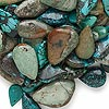 Bead mix, turquoise (dyed / stabilized), blue and green, 10x3mm-31x9mm teardrop, C- grade, Mohs hardness 5 to 6. Sold per 1/2 pound pkg, approximately 110 beads.