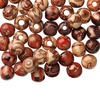 Bead mix, wood (coated), multicolored, 10mm hand-cut round with painted pattern. Sold per pkg of 100.