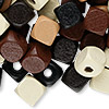 Bead mix, wood, mixed colors, 10x10mm cube. Sold per 400-gram pkg, approximately 1,000 beads.