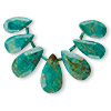 Bead, turquoise (dyed / stabilized), 16x11mm-22x14mm graduated hand-cut faceted teardrop, B grade, Mohs hardness 5 to 6. Sold per 7-piece set.