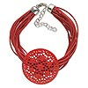 Bracelet, 20-strand, silver-finished steel / waxed cotton cord / bone (dyed), red, 40mm carved filigree flat round, 7-1/2 inches with lobster claw clasp and 2-inch extender chain. Sold individually.