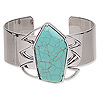Bracelet, cuff, turquoise (imitation) and imitation rhodium-finished steel, blue, 41mm wide with 41x41mm pentagon, adjustable. Sold individually.