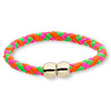 "Bracelet, imitation leather with gold-finished ""pewter"" (zinc-based alloy), neon pink / neon green / neon orange, 6mm wide braided round, 7-1/2 inches with magnetic clasp. Sold individually."