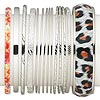 Bracelet mix, bangle, imitation leather and imitation rhodium-finished steel, multicolored, 1-17.5mm wide with mixed design, 2-1/2 to 2-3/4 inch inside diameter. Sold per pkg of 14.