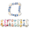 Bracelet mix, stretch, multi-shell / glass / silver-coated plastic, mixed shape, 7 inches, Mohs hardness 3-1/2. Sold per pkg of 10.