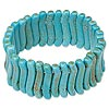 Bracelet, stretch, magnesite (dyed / stabilized), light blue, 32x6mm double-drilled curve, 8 inches. Sold individually.