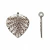 Charm, Hill Tribes, antiqued fine silver, 20x19mm leaf. Sold per pkg of 2.