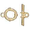 "Clasp, toggle, gold-plated ""pewter"" (zinc-based alloy), 19mm round with bands. Sold per pkg of 500."
