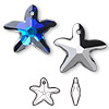 Drop, Swarovski crystal, Crystal Passions®, crystal Bermuda blue P, 21x20mm faceted starfish pendant (6721). Sold per pkg of 30.
