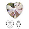 Drop, Swarovski® crystals, Crystal Passions®, crystal paradise shine, 28x28mm Xilion heart pendant (6228). Sold individually.