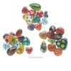 Drop mix, millefiori glass, mixed colors, 14-25mm top- and half-drilled mixed shape. Sold per pkg of 10.