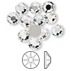 Flat back, Swarovski crystal rhinestone, Crystal Passions®, crystal clear, foil back, 7.07-7.27mm Xirius rose (2088), SS34. Sold per pkg of 12.