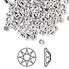 Flat back, Swarovski hotfix crystal rhinestone, Crystal Passions®, crystal clear, foil back, 3-3.2mm Xirius rose (2078), SS12. Sold per pkg of 144 (1 gross).