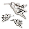 "Focal and charm, antiqued silver-finished ""pewter"" (zinc-based alloy), 42x28mm hummingbird and 20x12mm left- and right-facing hummingbird. Sold per 3-piece set."