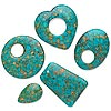 "Focal and drop mix, mosaic ""turquoise"" (dyed / assembled), blue-green, 20x20mm-41x40mm mixed shapes, C- grade. Sold per pkg of 5. Minimum 4 per order."