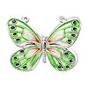 Focal, cloisonné, sterling silver and enamel, green and multicolored, 36x27mm butterfly. Sold individually.