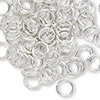 Jumpring, aluminum, silver, 8mm smooth round, 16 gauge. Sold per pkg of 100.