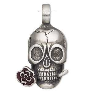 Pendant, enamel and antiqued pewter (tin-based alloy), dark red, 40x25mm single-sided skull with rose. Sold individually.