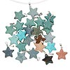 Pendant mix, multi-gemstone (natural / dyed / stabilized / imitation) and silver-finished steel, mixed colors, 22x20mm star. Sold per pkg of 25.