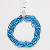 Seed bead, Blue Moon Beads®, glass, transparent luster light blue, 4x3mm-4x4mm round. Sold per pkg of (8) 14-inch strands.