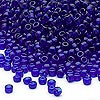 Seed bead, Dyna-Mites™, glass, transparent cobalt, #8 round. Sold per 1/2 kilogram pkg.