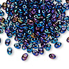 Seed bead, Preciosa Twin™, Czech glass, iris blue, 5x2.5mm oval with 2 holes. Sold per 10-gram pkg.