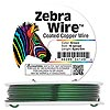 Wire, Zebra Wire™, color-coated copper, green, round, 16 gauge. Sold per 6-yard spool.